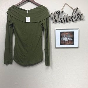 Free People NWT green off the shoulder long sleeve